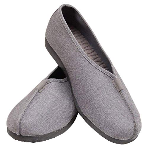 Buddhistische Schuhe Kampfsport Stoffschuhe- Buddhisten Mönche Slipper Kampfkunst Kung Fu Tai Chi Shaolin Wushu Qigong Wing Chun Sneaker Weich TPR Sohle für Männer Frauen (36 EU, Grau)