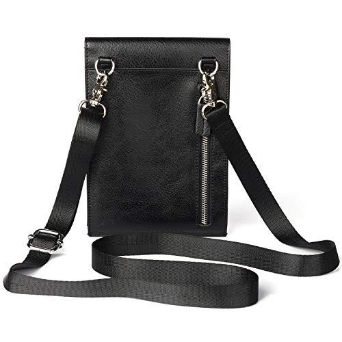 Kleine Umschlagtasche Leder,Hülle für Manner/Damen Messengertasche Outdoor Schultertasche Messenger Bag Handy Gürteltasche mit Viele ReißVerschluss FaCher für Alle Smartphone -Schwarz