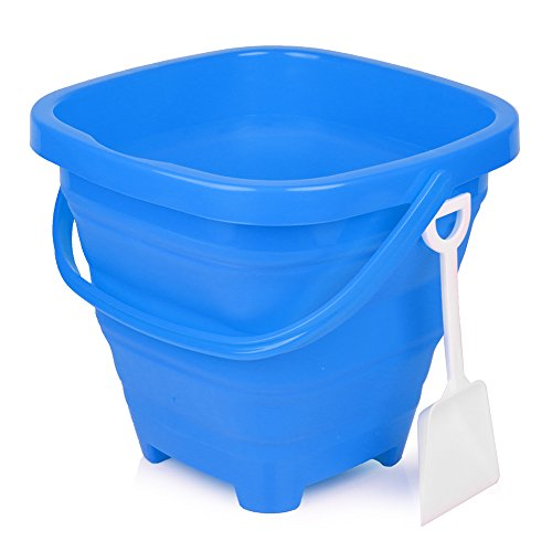Packable Pails - Collapsible Silicone Bucket [5 Liter] with Handle + Shovel   Travel, Beach, Sandbox, Camping, Fishing, Outdoors, Water, Gardening, Cleaning, Car wash   Kids Easter Gift Basket (Blue)
