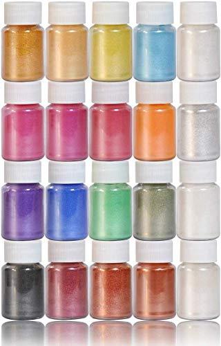 Dewel 20 Botes 10g pigmentos en polvo de Mica para teñir resina epoxi transparente,colorante jabon, bombas de baño, hacer slime, Maquillaje,uñas