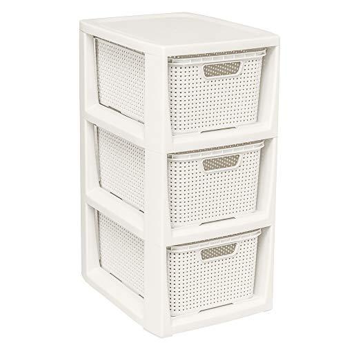 BranQ - Home essential Regal in Rattan Design, Kunststoff PP, Creme, 29,5x24x48,7 cm