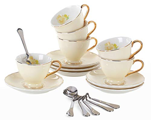 Jusalpha Fine China Coffee Bar Espresso small Cups and Saucers Set of 6 (FD-TCS02 pink (6), 3oz)