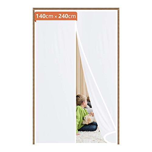 Fowong – Cortina de puerta magnética aislante, 140 × 240 cm, cortina magnética de TPU Airlock para puerta de balcón, puerta de terraza, cierre de velcro sin agujeros, color blanco