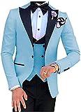 Botong Men's 3 PC Light Blue Notch Lapel Wedding Suits Slim Fit Groom Tuxedos Prom Suits Casual Suit Light Blue 38 Chest / 32 Waist