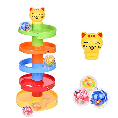 FUN LITTLE TOYS Cat Ball Drop Toys for Baby and Toddler, Learning Tower, Drop and Go Ramp Toys, Baby Activity Center Educational Toys