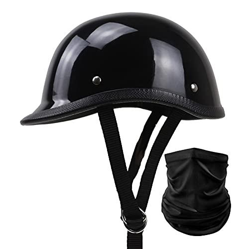 Retro Motorcycle Half Helmet German Style Vintage Caschi Da Motociclista Casco Moto Demi-Jet Casco Scodella con Sciarpa per Donna Uomo Adulti DOT/ECE Omologato (Color : Bright black)