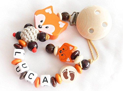 Baby Schnullerkette Fuchs mit Namen - Kinder - Geschenk zur Geburt, Taufe - Länge: max. 22cm (ohne Clip) - (Mandarin, Braun)