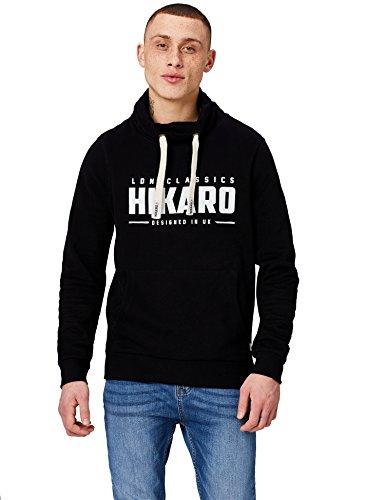 Amazon-Marke: Hikaro Herren Sweatshirt mit hohem Kragen, Schwarz (Black), M, Label:M