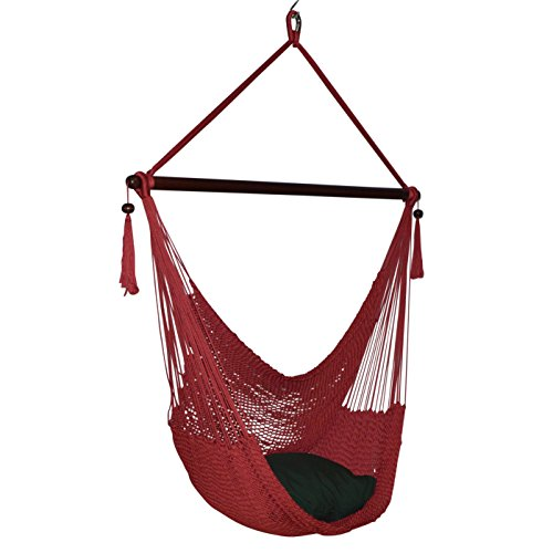 Large Caribbean Hammock Chair - 48 Inch - Polyester - Hanging Chair - red