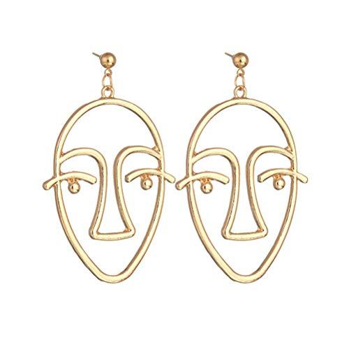 TENDYCOCO 2 Pares de Personalidad exagerada Ahuecan los Pendientes de la Cara de la aleación de Oro Pendientes de la Silueta del Contorno Facial de la Moda (Oro, Plata)