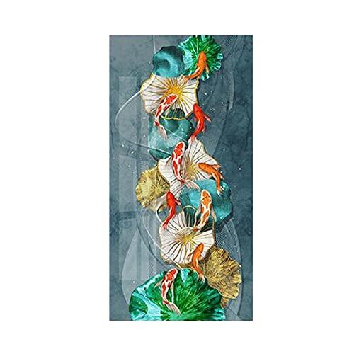 Hermosa carpa Goldfish Golden Lotus Leaf Flor Pez Animal Lienzo Pintura Arte de la pared Cartel Porche Entrada Sala de estar Oficina Estudio Decoración para el hogar Mural