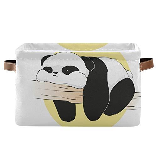 JinDoDo - Cestas cuadradas de almacenamiento con diseño de oso panda de animales, caja de almacenamiento plegable impermeable interior para armario de baño, juego de 1
