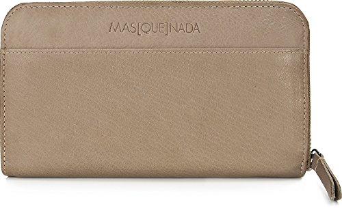 MASQUENADA, Leder Damen Geldbörsen, Börsen, Portemonnaies, Brieftaschen, 19,5 x 11 x 2,5 cm (B x H x T), Farbe:Taupe