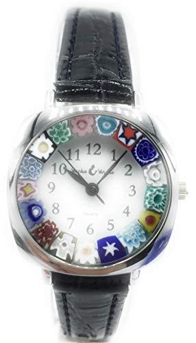 Orologio Donna Acciaio Pelle watch in Vetro di Murano Murrina Millefiori