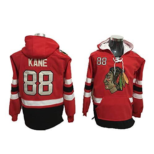 Yajun Kapuzen Pullover Hoodie NHL Artemi Panarin#72/Patrick Kane#88 Chicago Blackhawks Sweatshirt Atmungsaktives Langarm Persönlichkeits T-Shirt Lässige Eishockey Trikots,Red-88,M