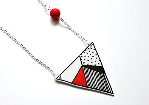 Handbemalte Halskette Rotes Dreieck