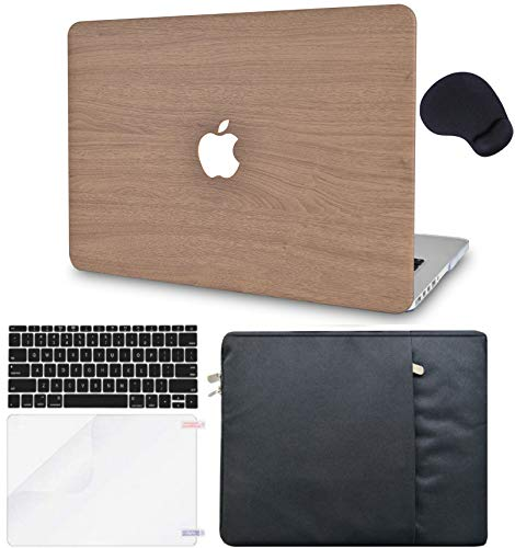 LuvCase 5in1 Laptop Case for MacBook Air 11' A1465 / A1370 Leather Hard Shell Cover, Sleeve, Mouse Pad, Keyboard Cover and Screen Protector (Brown Wood)
