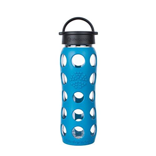 Lifefactory Glas Trinkflasche mit Silikon-Schutzhülle, BPA-frei, auslaufsicher, spülmaschinenfest, 650ml, blau