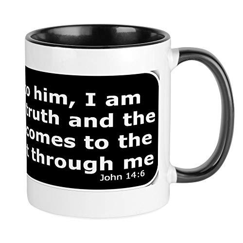 CafePress Kaffeebecher, Bibelvers John 14.6 Small White/Black Inside