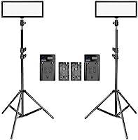 Neewer 2 Packs Super Slim LED Video Light with Light Stand Photography Lighting Kit, 3200K-5600K Bi-Color Dimmable LED...