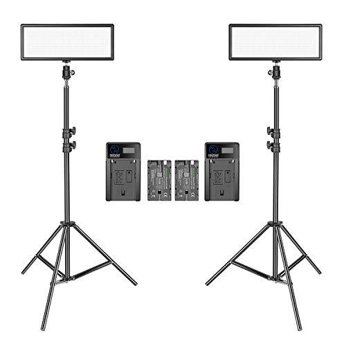 Neewer 2 Packs Luz Video LED Súper Fino con Soporte Iluminación Kit Iluminación para Fotografía, 3200K-5600K Panel LED Regulable Dos Colores, Batería de Ión de Litio y Cargador