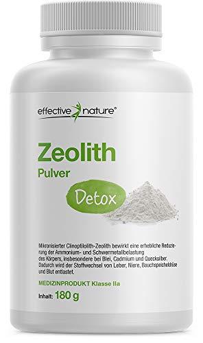 effective nature Zeolith Detox, zertifiziertes Medizinprodukt zur Bindung von Schwermetallen, natürliche Mineralerde, Produziert in Deutschland, bei Entschlackungs- und Darmkuren, 180 g Pulver