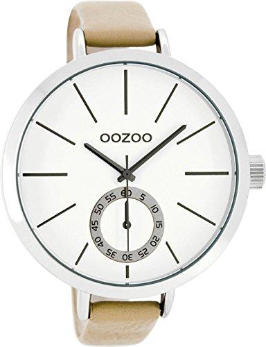 Oozoo Damenuhr mit Lederband 48 MM Weiß/Beige C8315