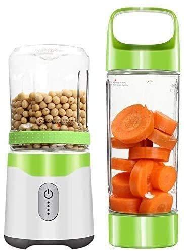 1yess Batidora portátil Blender Doble Taza de Jugo Mini máquina de la Copa Cocina Hogar Multifuncional exprimidor eléctrico 6 de la Hoja de Diente de Sierra 500 Ml (Color : Green)
