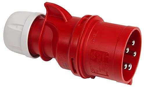 Kopp 179200007 CEE Stecker, rot mit Phasenwender 5-polig, 32 A, 400 V
