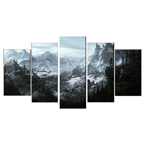 Muurfoto, HD-decoratie, 5-delig, canvas, schilderen, posters en stempel, skyrim, afbeeldingen voor Living Wall Art Room Home Decor Size 2 No Framed
