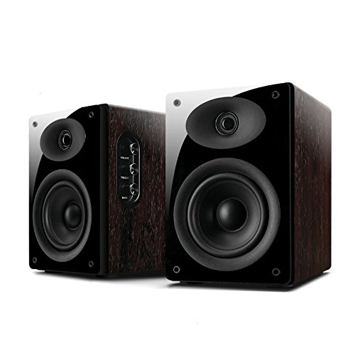 Swans Speakers - D1010MKII - Powered 2.0 Bookshelf Speakers - Full Rosewood Cabinets - Near-Field Monitors - 4'' Mid-Bass Driver & 0.8'' Dome Tweeter - Compact Computer Speakers - 34W RMS