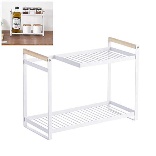 SyeRum küchenschrank Organizer kleines Gewürzregal aus und Metall, stapelbarer Küchen Organizer Mit abnehmbaren Haken für Schlafzimmer, Bad, Kosmetikecke, Arbeitszimmer