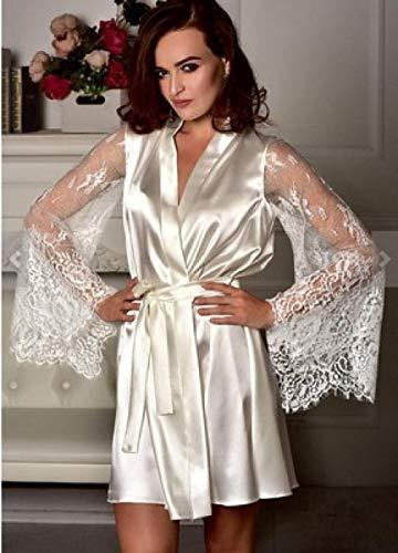 CHBY Conjuntos de lencería Vestidos eróticos de Mujer Albornoz de Encaje de Gran tamaño Beige XXX