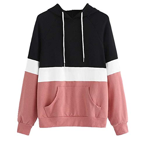 Sweat-shirts à capuche pour femme à capuche rayé à manches longues - Rose - S