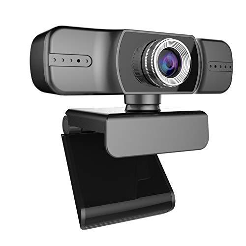 1080Pウェブカメラ、PCのラップトップのビデオ会議録画のためのライブストリーミングカメラUSB Webカメラ広角カメラダブルマイク