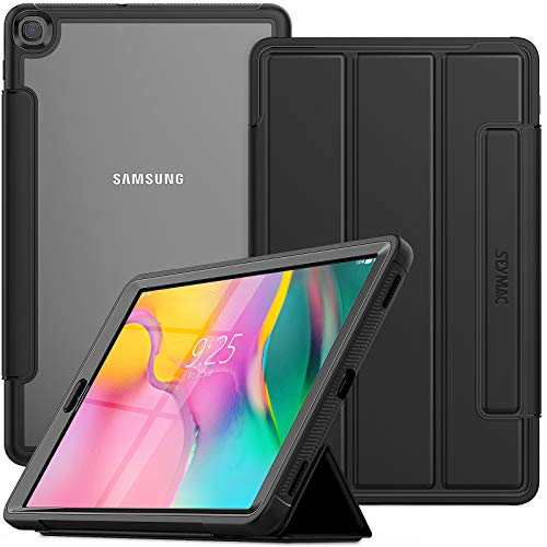 SEYMAC Stock Galaxy Tab A 10.1 2019 Case, Shockproof Rugged Case with Screen Protector Clear Back & Magnetic Stand for Samsung Galaxy Tab A 10.1 Inch SM-T510/T515/T517 (Black)