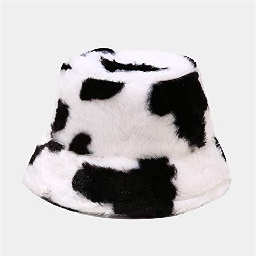 Sombrero Caliente del invierno del sombrero del cubo de la felpa mullida gruesa Pescador casquillos de la manera impresión de la vaca suave otoño Sombrero de sol Mujer guías de regalos de viajes calie