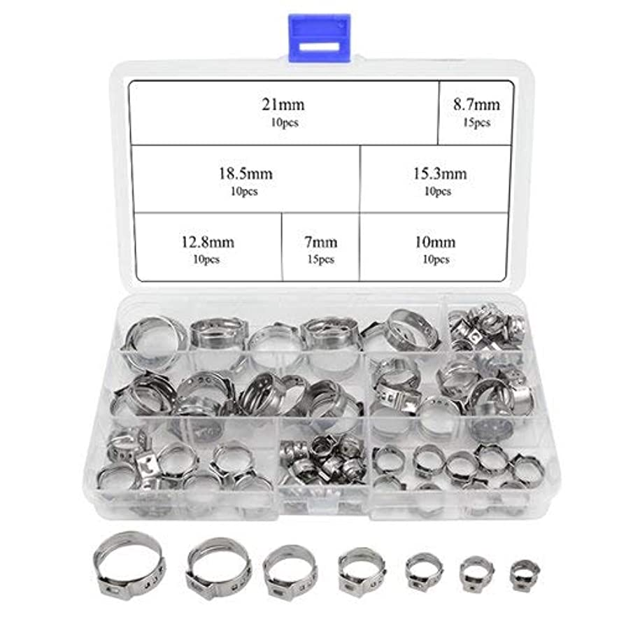 配当煙場合WMYCONGCONG 80 PCS Stainless Steel Single Ear Hose Clamps Assortment Kit [並行輸入品]