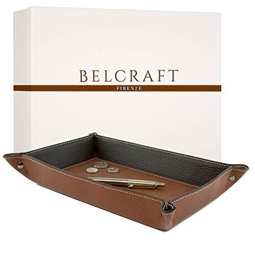 Belcraft Luni Taschenleerer Leder, Elegantes Geschenk mit Geschenkbox, Handgearbeitet in klassischem italienischem Stil, Ordentlich Tablett, Braun (28x19 cm)