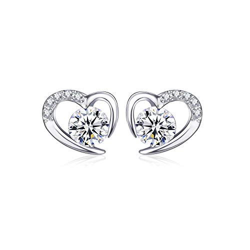 L.Adorer Gifts for Mother's Day,Silver Earrings Women With Swarovski Element Zirconia Crystals, Love Heart 925 Sterling Silver Stud Earrings,5A Cubic Zirconia Jewellery for Women, Allergen-free