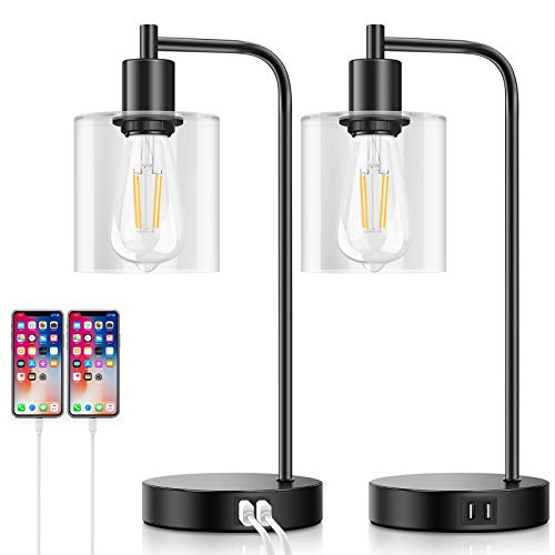 Set of 2 Industrial Touch Control Table Lamps with 2 USB Ports and AC Power Outlet {Expires 5/30} [Clip 35% off on-page coupon] - $44