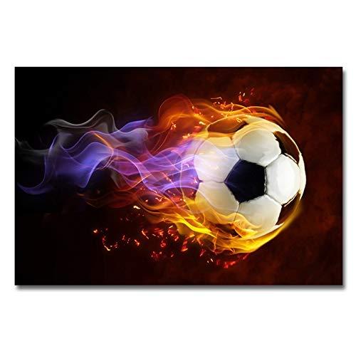 wtnhz Kein Rahmen Leinwanddruck Gemälde Moderne Feuer Fußball Sport Wandkunst Poster und druckt Bilder für Wohnzimmer Home Decor 40x60cm