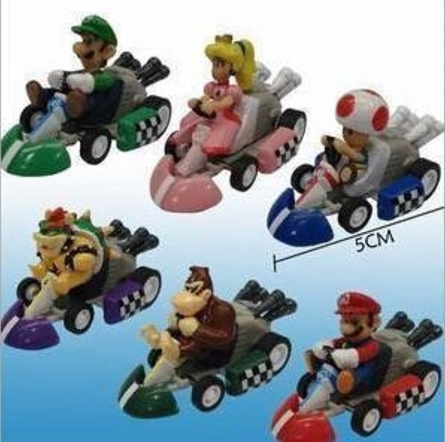 Super Mario Bros Car Toy - Set of 6 pcs Super Mario Bros. Kart PULL BACK Cars Figures super mario kart by Unknown