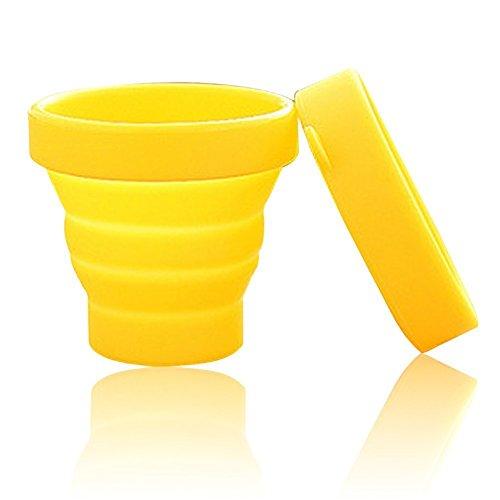asentechuk® Portable souple en silicone pliable camping voyage pliable tasse extérieur Gobelet à Dents, Silicone, jaune,