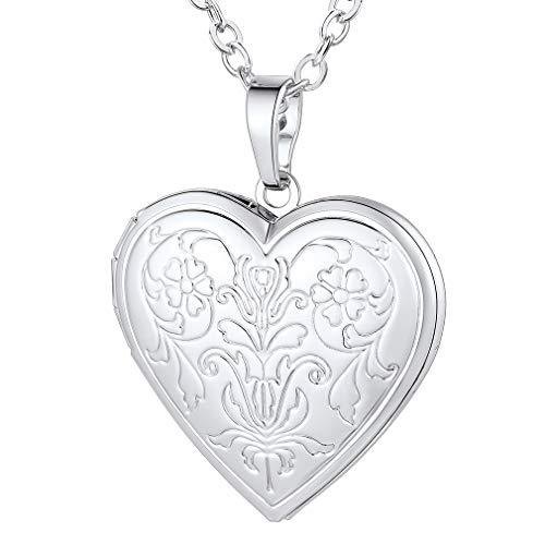 FaithHeart Collar Guardapelo Corazón Romántico para Novias Colgante Latón Chapado en Platino Plateado
