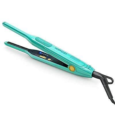 KIPOZI Pencil Flat Iron, Small Flat Iron for Short Hair and Pixie?Cut, 0.3 Inch Titanium Beard Hair Straightener with Variable Temperature in Turquoise