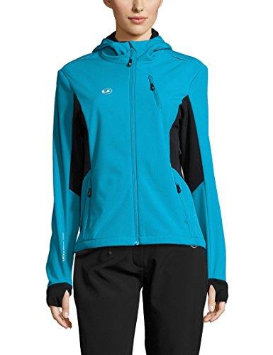Ultrasport Advanced Damen Softshelljacke Bibi, moderne zweifarbige Funktionsjacke, Outdoorjacke, Laufjacke, Fitnessjacke, Türkis/Schwarz, XL