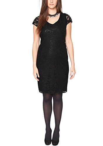 TRIANGLE - s.Oliver Damen Cocktail Kleid 33.411.82.2103, Knielang, Einfarbig, Gr. 46, Schwarz (black 9999)