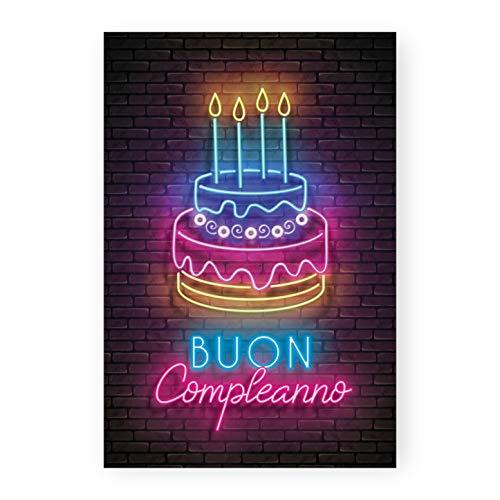 Biglietto auguri compleanno Neon