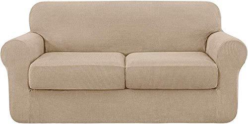 Pillowcase Funda de sofá Universal con 2 Fundas de cojín Independientes, Antideslizante de reemplazo de Funda de sofá de poliéster elastizado elástico (Camel, 3 plazas (185-235 cm))
